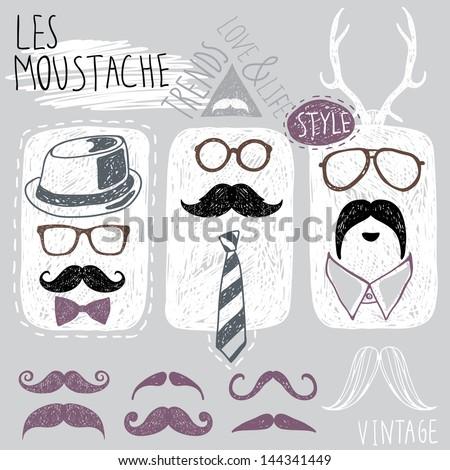 mustache styles - stock vector