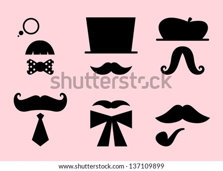Mustaches and hats retro accessories isolated on pink - stock vector