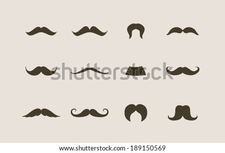 Mustaches icons set - stock vector