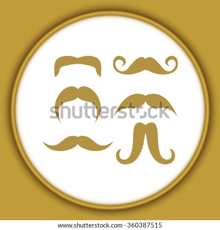 Mustaches icons set with shadow  - stock vector