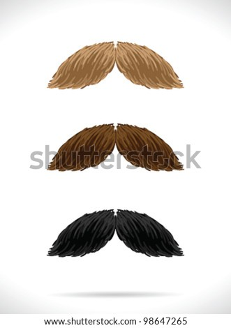 Mustaches set (3 color)3 - vector illustration Shadow and background are on separate layers. Easy editing. - stock vector
