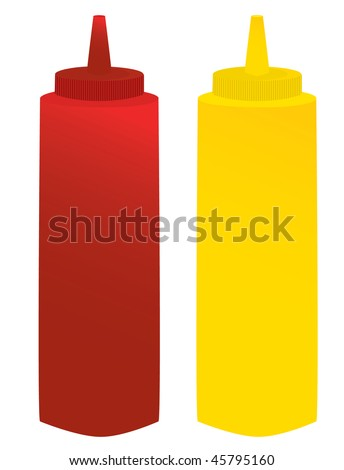 mustard and ketchup containers - vector version