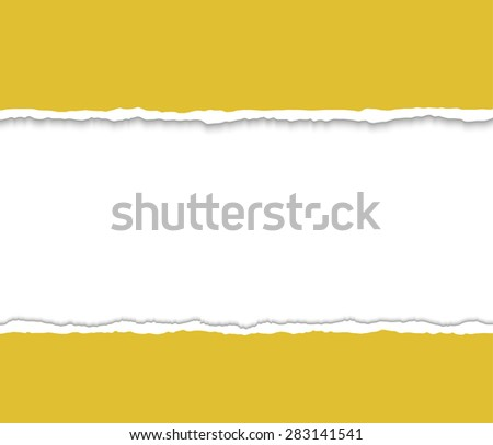 Mustard Torn paper pieces. Paper with ripped edges. Design elements. Vector EPS10 illustration.  - stock vector
