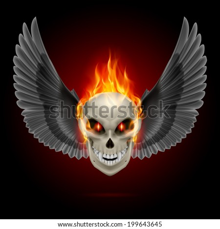 Mutant skull with orange flame and black wings - stock vector