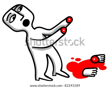 mutilated man with the cut hands - stock vector