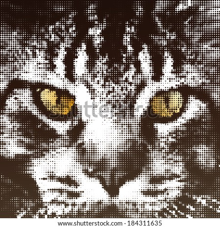Muzzle cat maine coon in halftone style. Vector concept illustration - stock vector