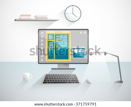 My corner at work. Office interior. Flat design illustration. Isolated objects. - stock vector
