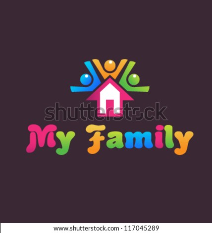My Family and the House  - stock vector