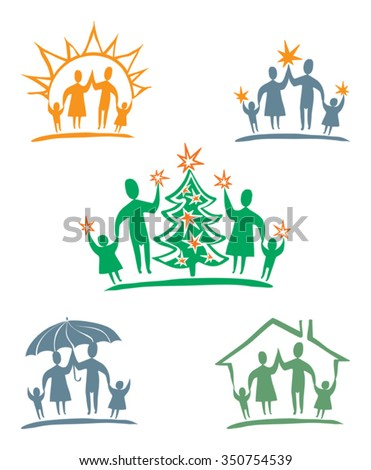 My family. Vector icon set. - stock vector