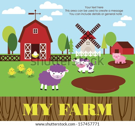 my farm card design. vector illustration - stock vector