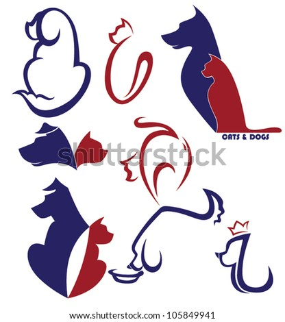 my favorite pet, vector collection of cats and dogs symbols