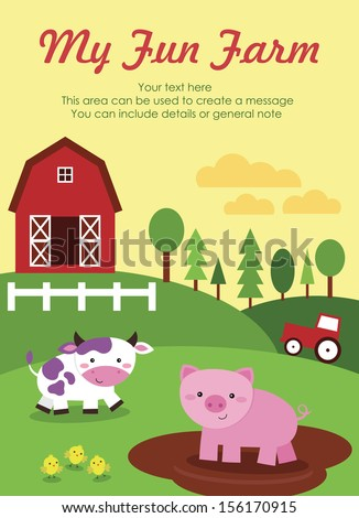 my fun farm card design. vector illustration - stock vector