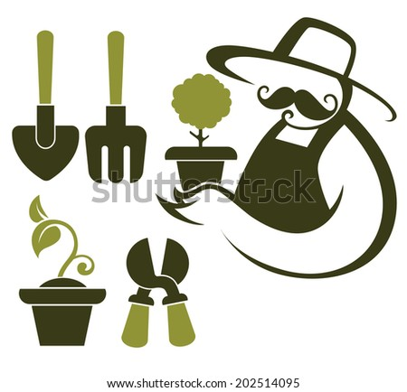 my garden, farmer image and vector icons of gardening tools - stock vector