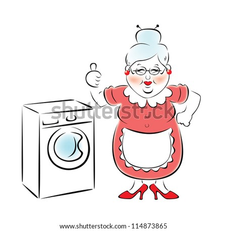 My grandmother bought a new washing machine. - stock vector