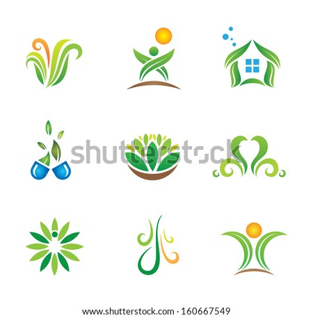 My green nature world in harmony with social media and network community and modern life with pollution solution logo symbol icon set - stock vector