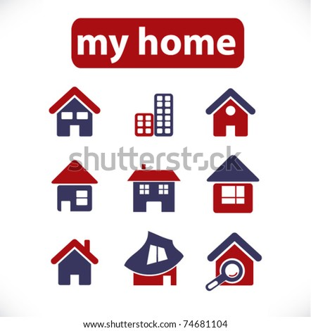my home & house icons, vector - stock vector
