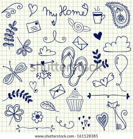 My Home pen doodles on squared paper - stock vector