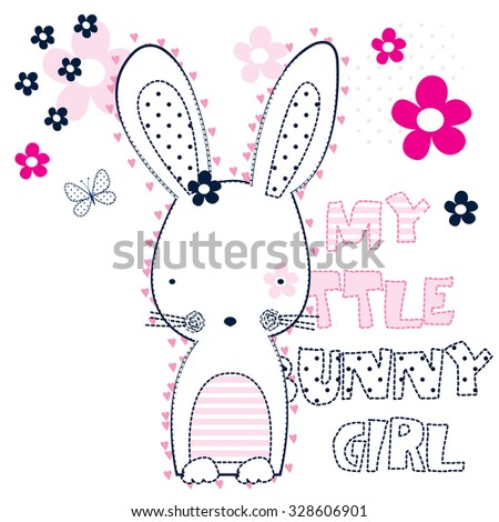 my little bunny girl with butterfly and flower vector illustration - stock vector