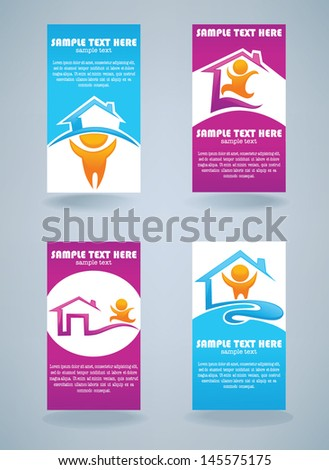 my little home,collection of property and real estate business cards - stock vector