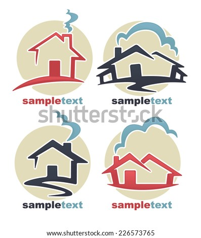 my little home, vector collection of property symbols - stock vector