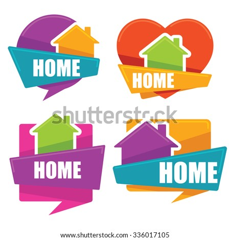 my little home, vector collection of property symbols, logo, emblems, stickers - stock vector