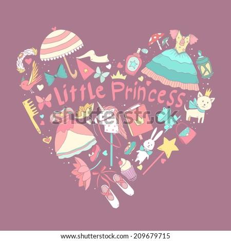 My little princess heart shape - stock vector