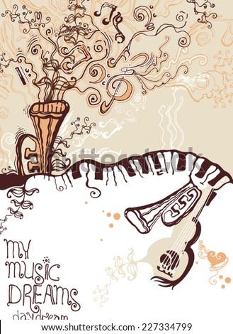 My music dreams. - stock vector