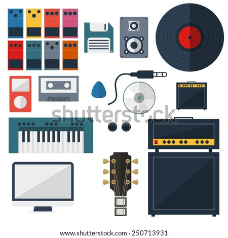 My Music Studio Instrument Flat Design - stock vector