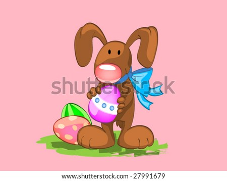 my rabbit with easter eggs (editable layers) - stock vector