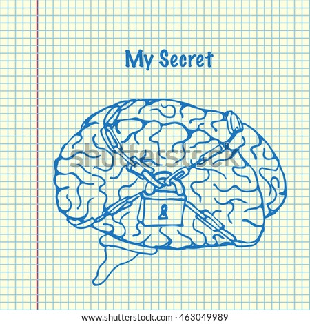 My Secret. Brain is lock. World intellectual property day. Hand drawn vector stock illustration. Sheet ball pen drawing.