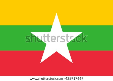 Myanmar flag, official colors and proportion correctly. National Myanmar flag. Flat vector illustration. EPS10.