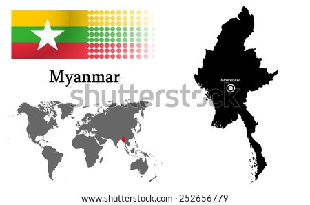 Myanmar info graphic with flag , location in world map, Map and the capital ,Naypyidaw, location.(EPS10 Separate part by part) - stock vector