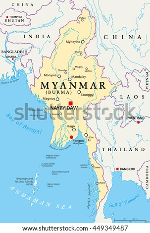 Myanmar Political Map Capital Naypyidaw National Stock Vector