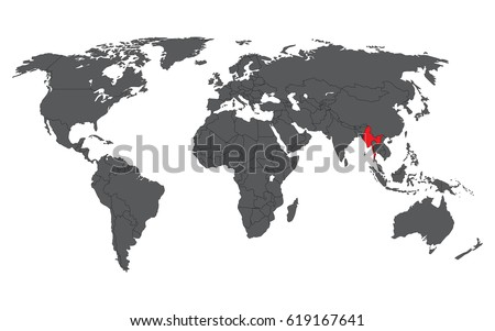 Myanmar map stock images royalty free images vectors shutterstock myanmar red on gray world map vector gumiabroncs Images