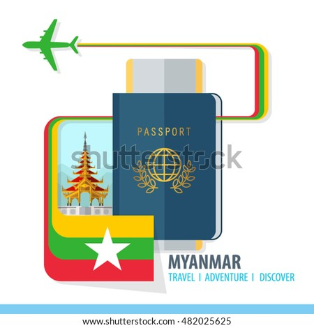Myanmar Travel, Discover, Adventure - Most Famous Landmark in country - airplane logo - Country Flag - Passport and Boarding pass - in flat style.