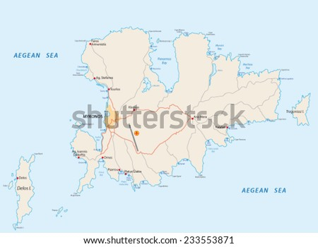 mykonos road and beach map - stock vector