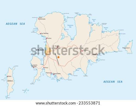 Mykonos Road Beach Map Stock Vector 2018 233553871 Shutterstock