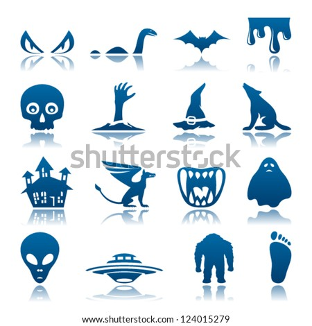 Mysterious and horror icon set - stock vector