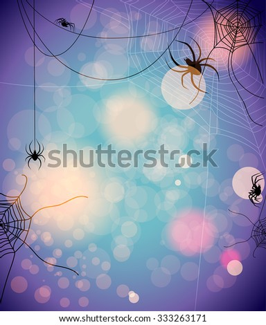 Mysterious background with spiders. Design for card, banner, invitation, leaflet and so on. - stock vector