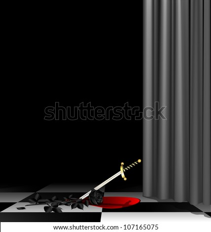 mysterious dark room with a black rose, a dagger and the blood on the floor