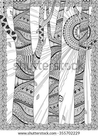 mysterious forest coloring page in exquisite line - stock vector