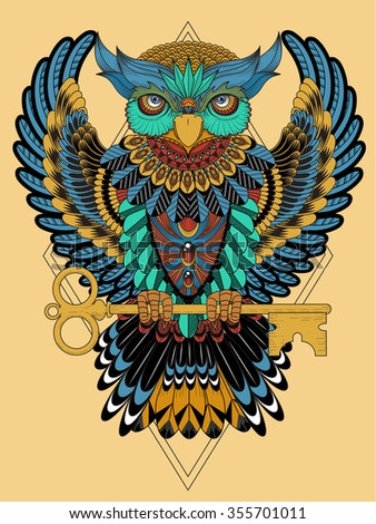 mysterious owl coloring page in exquisite line - stock vector