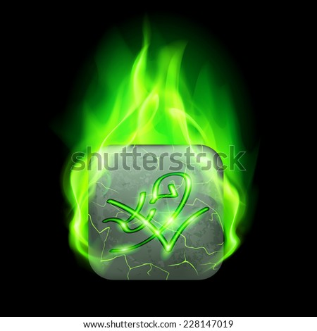 Mysterious rectangular stone with magic rune in green flame