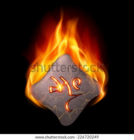 Mysterious rough stone with magic rune in orange flame