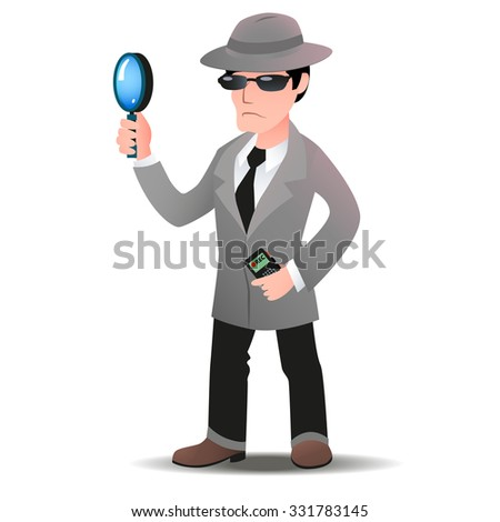 Mystery shopper man in spy coat, boots, tie, sunglasses and hat with magnifier and dictaphone. Full-length vector. - stock vector