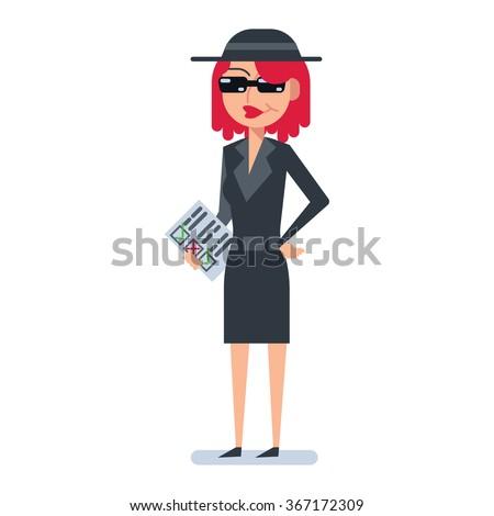 Mystery shopper woman in spy coat - stock vector