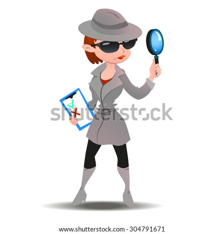 Mystery shopper woman in spy coat, boots, sunglasses and hat with magnifier and checklist. Full-length vector. - stock vector