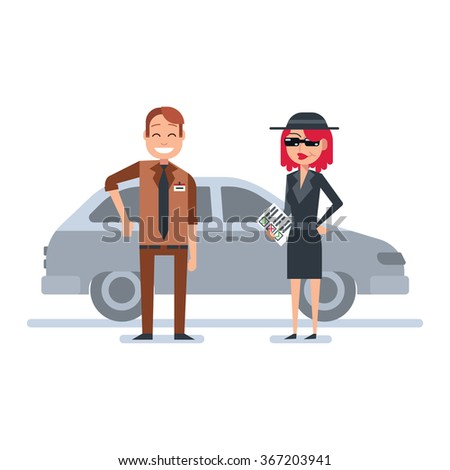 Mystery shopper woman in spy coat checks car dealer - stock vector