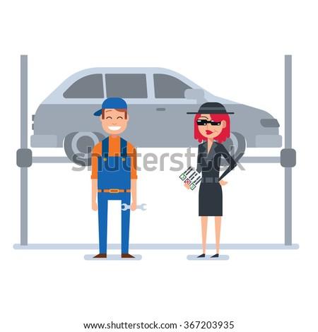 Mystery shopper woman in spy coat checks car mechanic - stock vector
