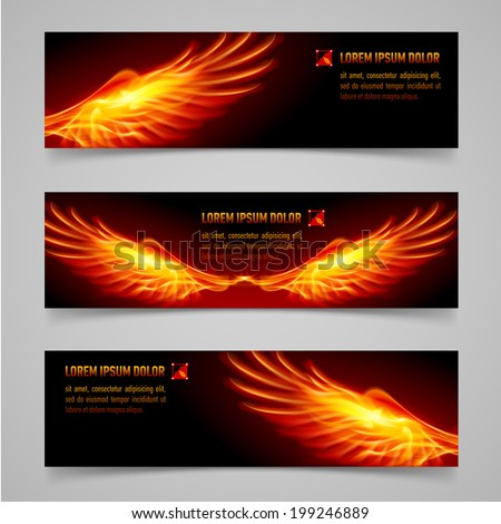Mystic banners with orange flaming wings for your design - stock vector